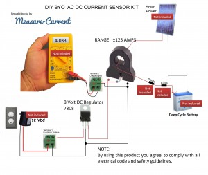 DIY KIT hall effect current sensor diagram AC DC for WInd Turbine or Solar Panel