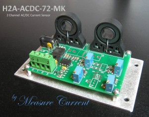 Two channel hall effect current sensor transducer up to 72 Amps AC or DC