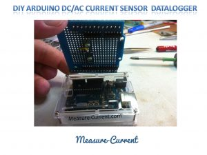 The Arduino shield holding the CSLA2CD current sensor mounts easily onto the PCB and plugs into the top of the arduino.